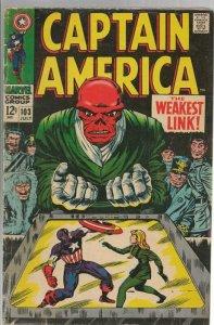 Captain America #103 ORIGINAL Vintage 1968 Marvel Comics Red Skull Sharon Carter