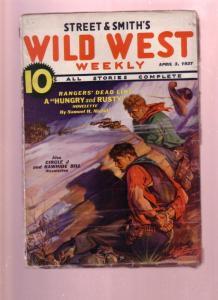 WILD WEST WEEKLY-APR 3 1937-PULP-WILD BILL HICKOK-BAR U VG+