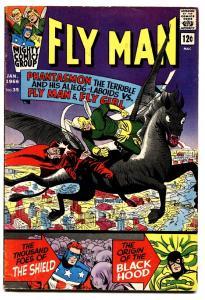 FLY MAN #35 1966-FLYGIRL-ORIGIN BLACK HOOD-SHIELD-COMET FN
