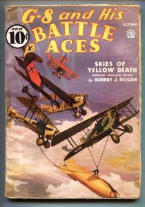G-8 and His Battle Aces Pulp October 1936-Aviation hero pulp- VG-