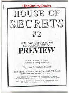 HOUSE of SECRETS #2 Black and White Promo, 1996, VF/NM, Preview, more in store