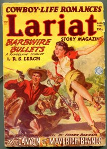 Lariat Pulp January 1945- Saunders-Canyon of Maverick Brands-Barbwire Bullets