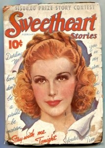 Sweetheart Stories Pulp February 1938- Stay With Me Tonight- low grade