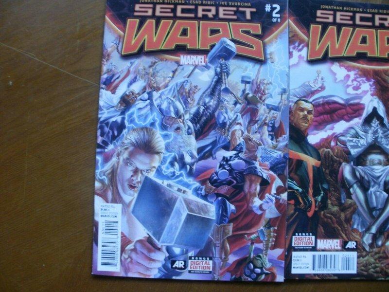 3 Near-Mint Marvel SECRET WARS #2 #4 #6 (2015) Hickman Ribic (Battleworld Doom)