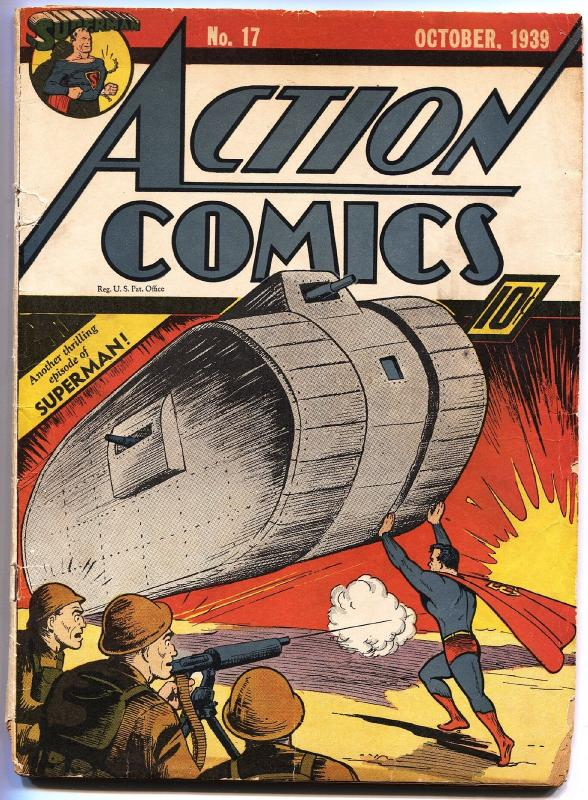 ACTION COMICS #17-SUPERMAN-TANK COVER-1939-DC GOLDEN-AGE