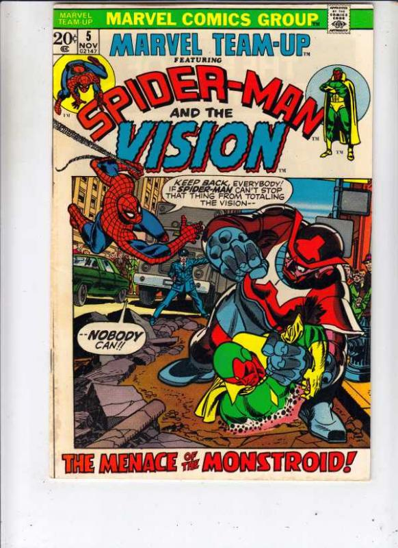 Marvel Team-Up #5 (Nov-72) VF High-Grade Spider-Man