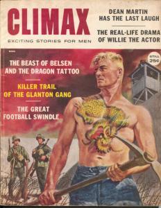 Climax 11/1959-cheesecake-tattoo cover-lynch mob-Dean Martin-VG