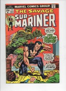 SUB-MARINER #72, VG/FN, Adkins, Slime Thing, Marvel, 1968 1974, more in store