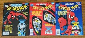 LOT OF 3 SPIDER-MAN MAGAZINE #1, 2, & 3 1994 w 8 FLEER ULTRA CARDS Marvel Comics