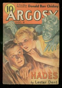 ARGOSY DEC 5 1936-L RON HUBBARD-LESTER DENT-DEMON COVER VG-