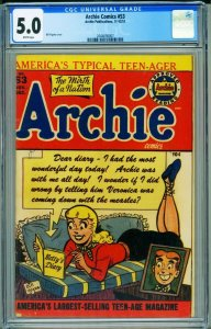 ARCHIE #53 CGC 5.0 1951 - CLASSIC BETTY COVER- GGA 204465007