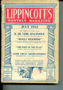 Lippincott's Monthly Magazine 7/1912-early pulp format-over 100 years old-VG