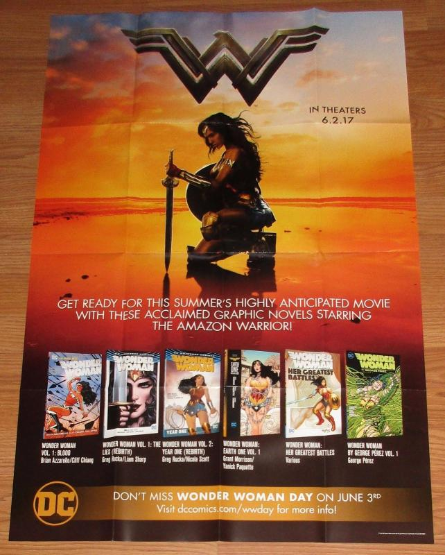 Wonder Woman Movie / Graphic Novels Folded Promo Poster DC 2017 (24 x 36) New!