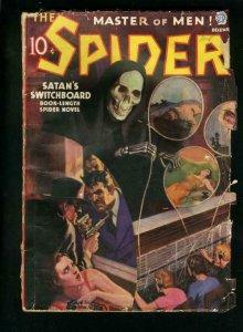 SPIDER DEC 1937-SATANS SWITCHBOARD-VIOLENT PULP-WILD SKULL COVER-good G