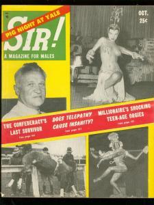 SIR! MAGAZINE OCT 1955-STRIPPER COVER-TEENAGE ORGIES- FN