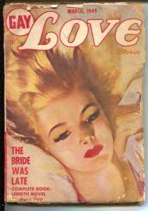 Gay Love Stories 3/1949-Columbia-pulp fun-pin-up girl cover-VG
