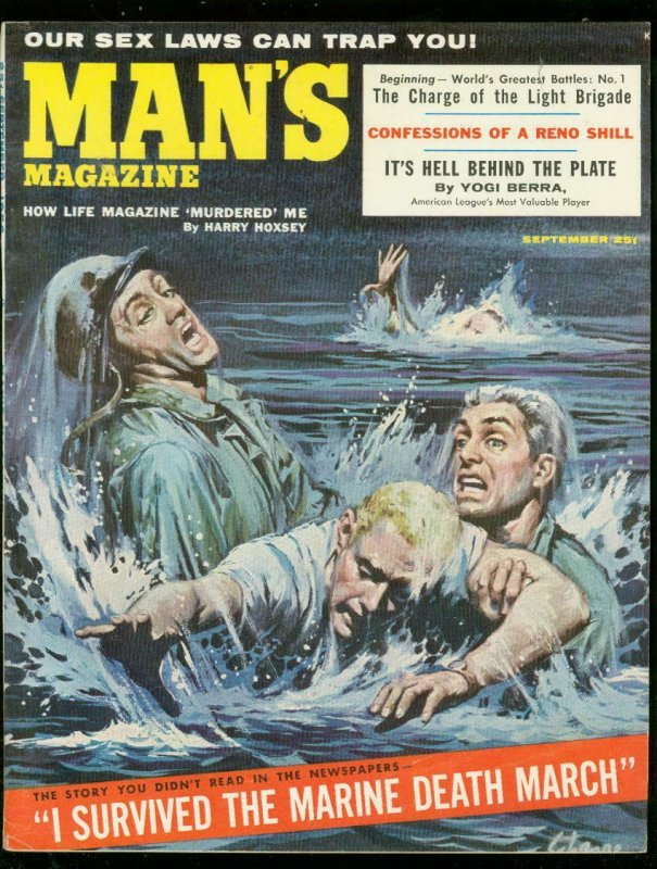 MAN'S MAGAZINE SEPT 1956-YOGI BERRA-MARINE DEATH MARCH- FN-