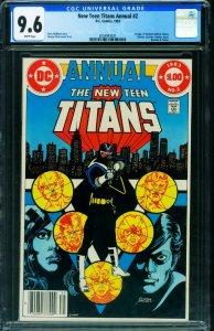 NEW TEEN TITANS ANNUAL #2 CGC 9.6 1983-1st VIGILANTE- Newsstand 2054943021