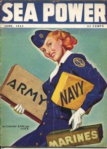 Sea Power 6/1943-McClelland Barclay cover art-war pix &info-rare-VG