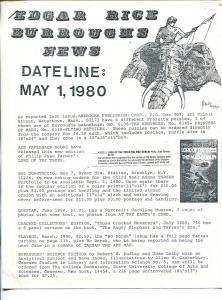 Edgar Rice Burroughs News Dateline #4 5/1/1980-Tarzan-fanzine-newsletter-FN