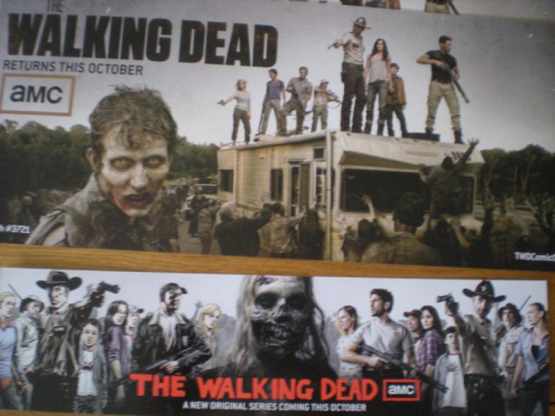 WALKING DEAD Promo set, Zombies,with 9 Promo Cards / misc, + 3 buttons, 1 2
