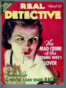 REAL DETECTIVE-1936 MAR-PULP TRUE CRIME-FOREIGN LEGION-PROHIBITION ERA CRIM VG-