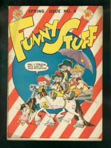 FUNNY STUFF #4 1945-SHELDON MAYER ART-3 MOUSEKETEERS VG