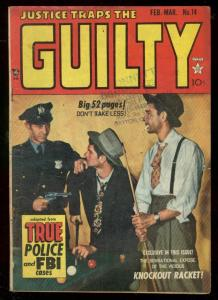JUSTICE TRAPS THE GUILTY #14 1950-PHOTO COVER-SEVERIN VG