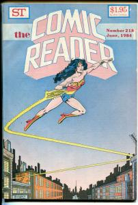 Comic Reader #218 1984-Wonder Woman-loaded with comic book info-Spiderman-VG-