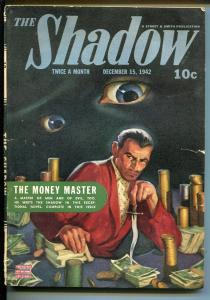 Shadow 12/15/1942-Strret & Smith-classic hero pulp-eyeball cover-VG+