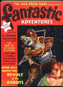 FANTASTIC ADVENTURE #1-05/1939-FUQUA ROBOT COVER-TOP SC-FI PULP THRILLS-vf