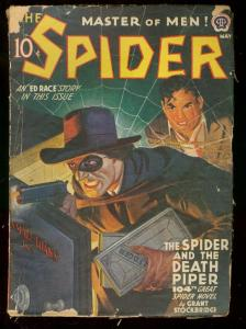 THE SPIDER MAY 1942 ED RACE STORY VIOLENT PULP COVER VG-