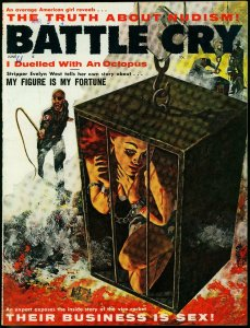 BATTLE CRY June 1961- Nazi torture/whipping cover- Evelyn West- Jean Martell FN