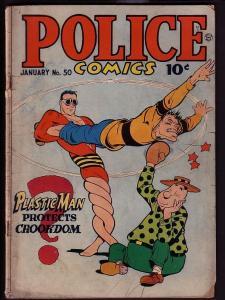POLICE COMICS #50-COLE-PLASTICMAN-RARE VG