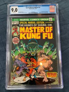Special Marvel Edition 15 CGC 9.0 White Pgs 1st App Shang-Chi Master of Kung Fu!