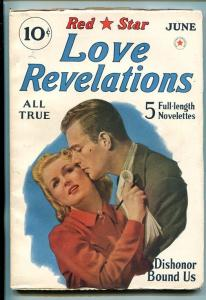 RED STAR LOVE REVELATIONS-#1-JUN 1940-PULP-SOUTHERN STATES PEDIGREE-vf