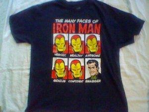 Used Marvel The Many Faces of Iron Man Tony Stark XL black t-shirt, Ironman