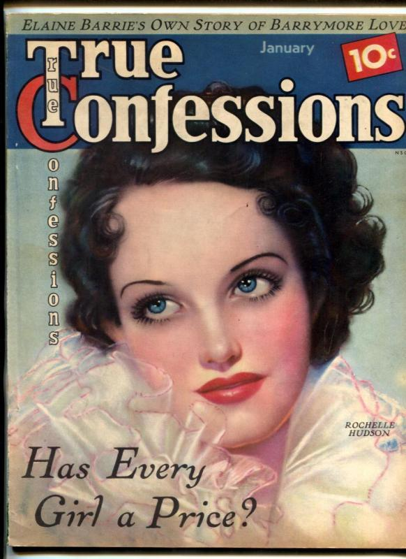 True Confessions Magazine January 1936-Barrymore- Rochelle Hudson