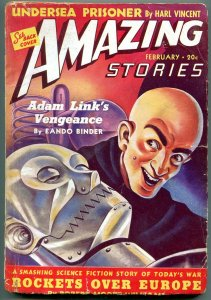 Amazing Stories Pulp February 1940- Robot cover- Adam Link VG
