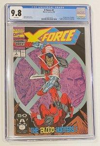 Marvel Comics X-force # 2 CGC 9.8  Second appearance of Deadpool  NM/MINT  1991