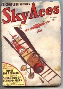 Sky Aces Pulp #3 September 1938- Squadron of Flaming Ships G/VG