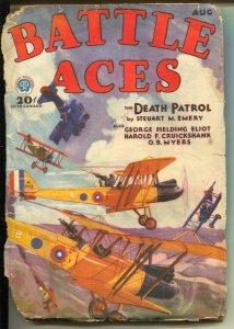 Battle Aces  8/1931-Popular-Death Patrol-Steuart M Emery-WWI bi-plane-pulp-FR
