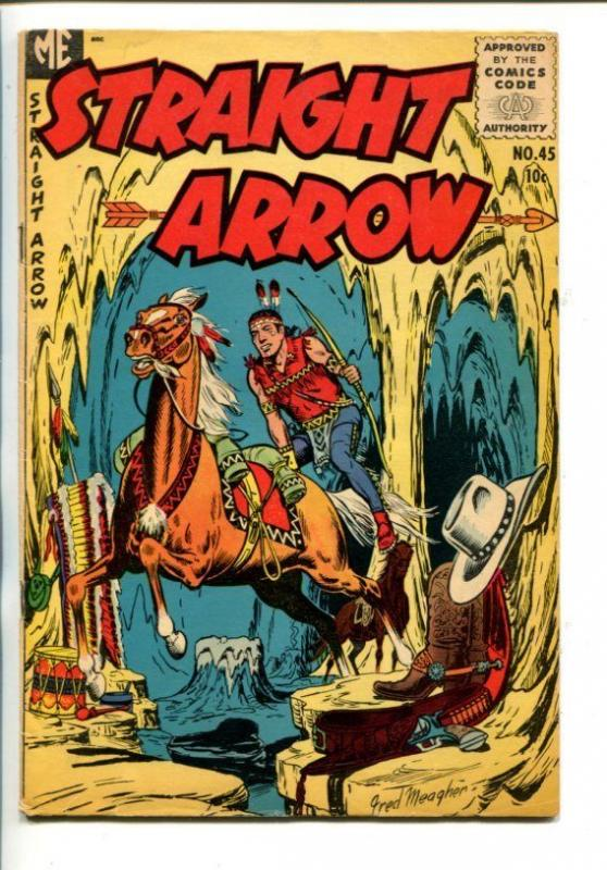 STRAIGHT ARROW  #45-1955-WESTERN-FRED MEAGHER ART--SECRET CAVE COVER-vg+
