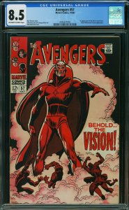 SILVER AGE 1968 AVENGERS #57 COMIC CGC 8.5 1st VISION OFF-WHITE TO WHITE Pages!