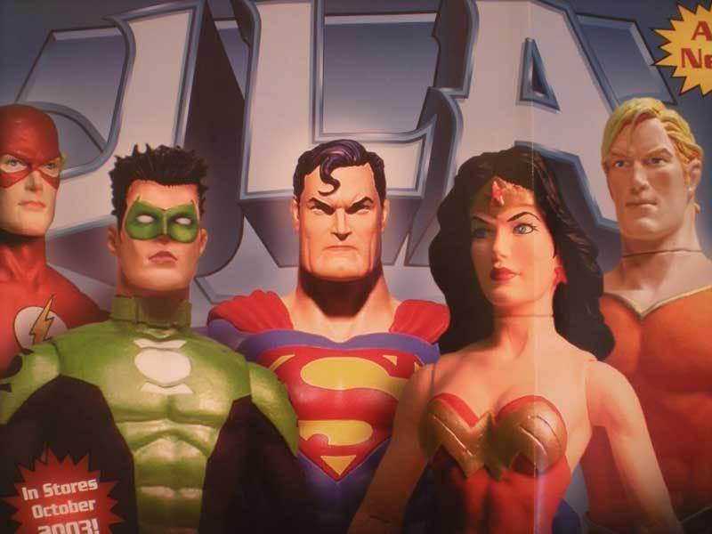 JLA (ACTION FIGURES)  Promo poster, Wonder Woman, Unused, Superman, Flash