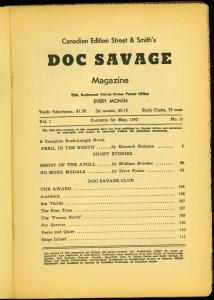 Doc Savage Pulp #11 May 1942- Peril in the North- Canadian Variant reading copy