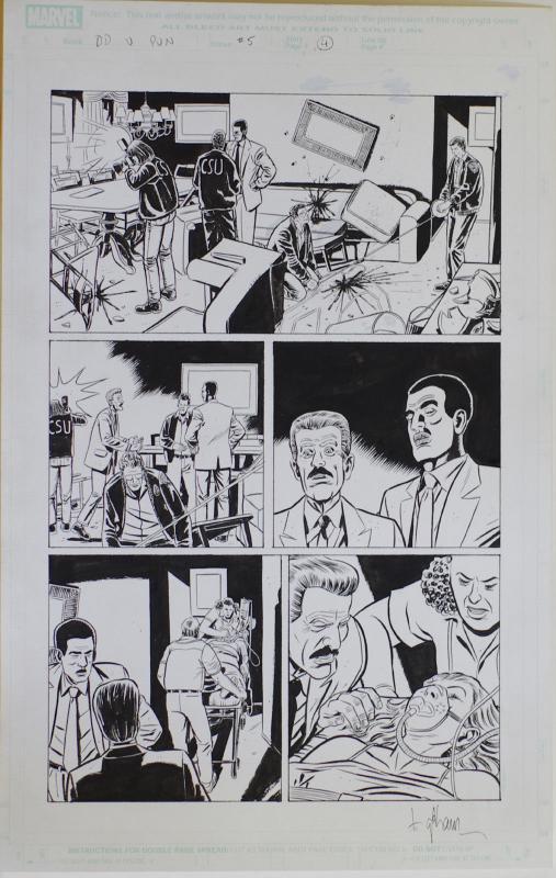 DAVE LAPHAM original art, DAREDEVIL vs PUNISHER #5 pg 4, 2005,11x17, David