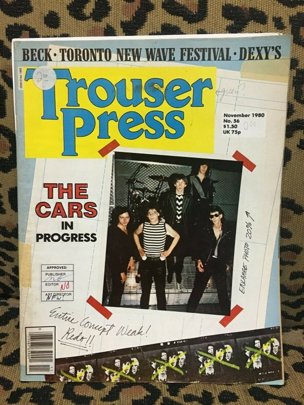 TROUSER PRESS MAGAZINE #56 November 19980 - Cars Jeff Beck NEW WAVE VG