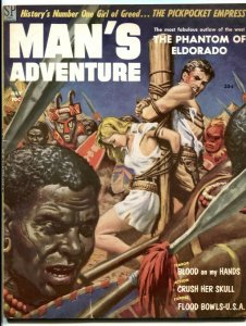 Man's Adventure July 1958- Crush Her Skull- bondage cover FN-
