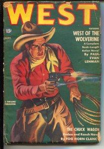 West 9/1941-Thrilling-hero pulp--gunfight cover-Gunnison Steele-Paul Evan Leh...